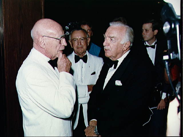 Robert Gilruth, Walter Cronkite, and Christopher Kraft
