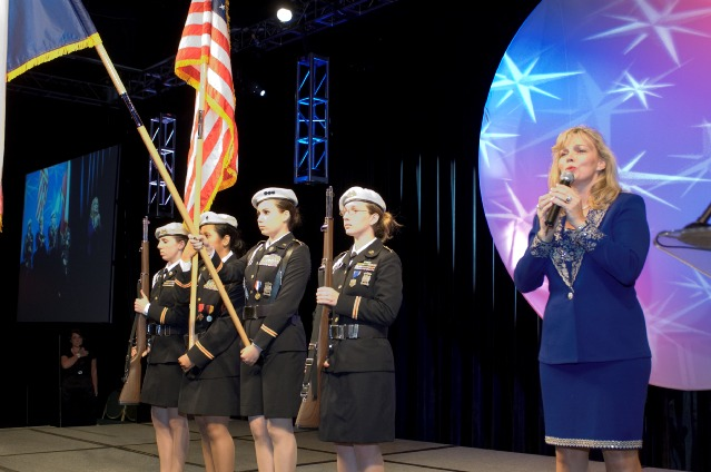 Clear Lake High School Army JROTC and solotist Shari Wilkins.