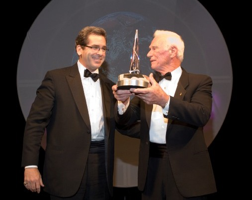 Emcee Miles O'Brien and National Space Trophy Winner Gene Cernan.