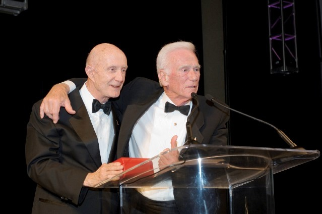 Presenter of Omega Watch, Tom Stafford, and Gene Cernan.