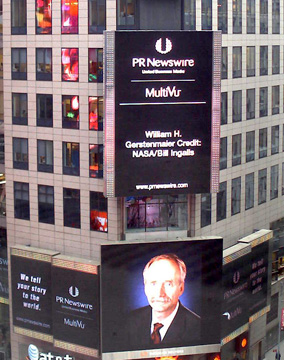 Reuters sign in Times Square of Bill Gerstenmaier