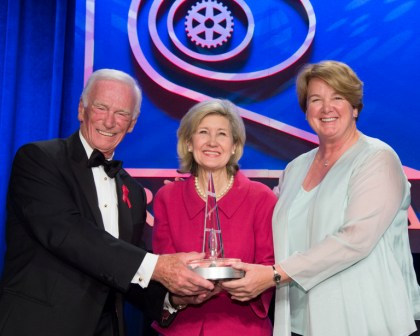 Presenter Cernan, NST Winner Hutchison, Nominator Lockheed Martin VP Joanne Maguire