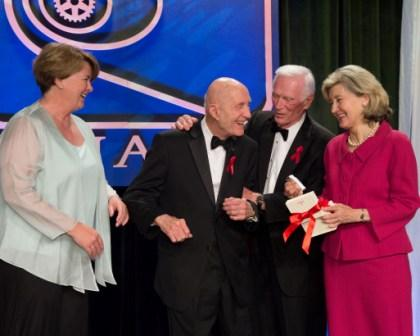 Nominator Lockheed Martin Ex. VP Joanne Macquire joins Stafford, Cernan, and Hutchison onstage.