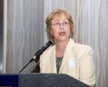 Space Center Rotary Club President Marilyn Musial tells nominees about Rotary International