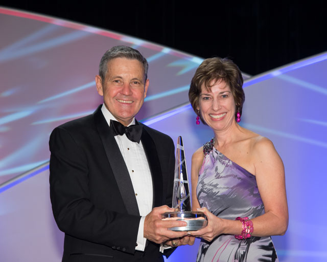 Dr. Ellen Ochoa presents the National Space Trophy to Col. Robert Cabana