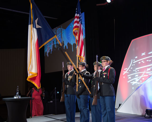 Clear Lake High School, JROTC presents flags