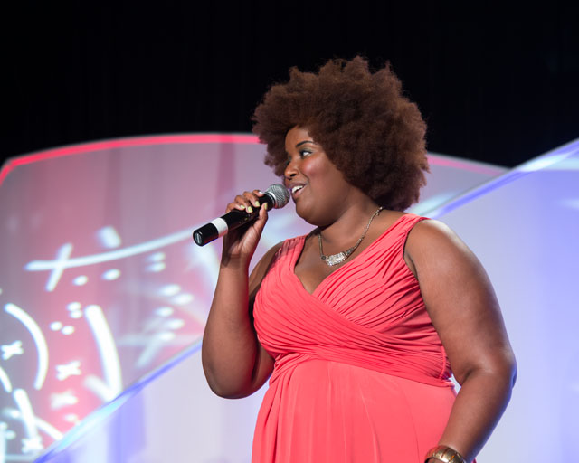 National anthem singer, Kam Franklin